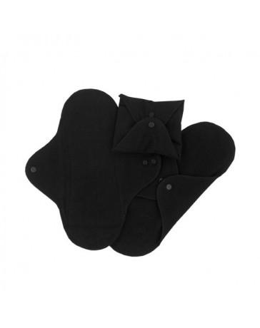 serviettes hygiéniques lavables Noires - normal