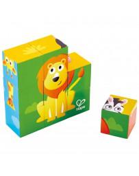 Neuf cubes bois animaux