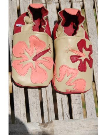 Chausson en cuir Hibiscus