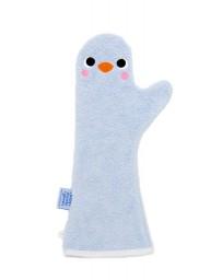 Gant de douche bleu pingouin